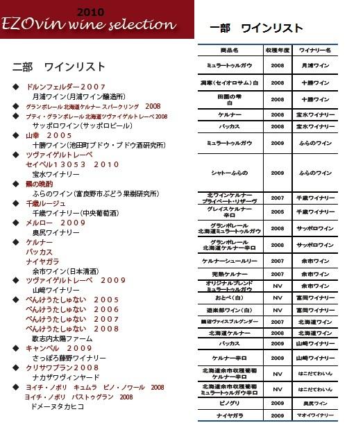 2010参考ワインリスト