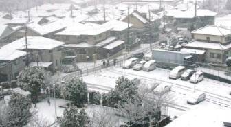 ベランダからの雪景色1(近所の家々)