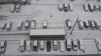 ベランダからの雪景色4(真下の道路)