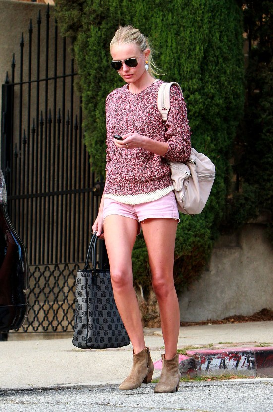 Kate Bosworth looks colorful in a sweater and short shorts while out in L.A