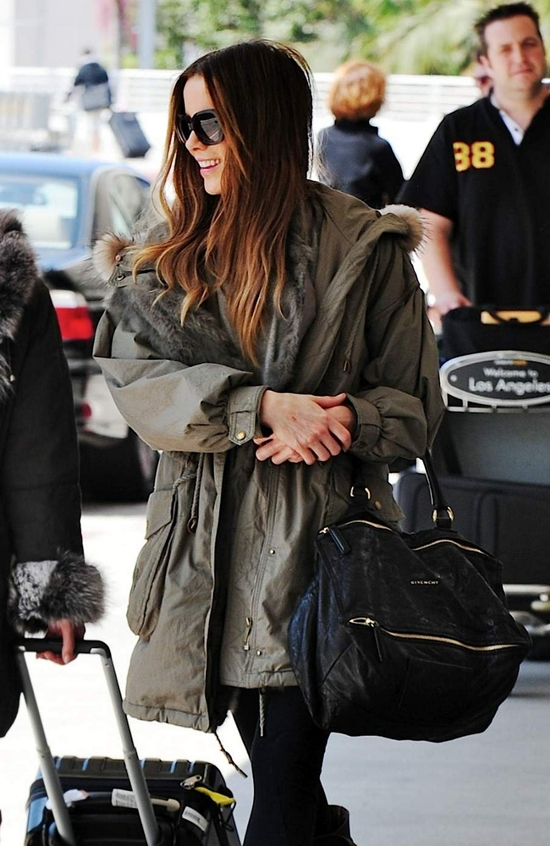 Kate Beckinsale looks fashionable as she departs from LAX airport