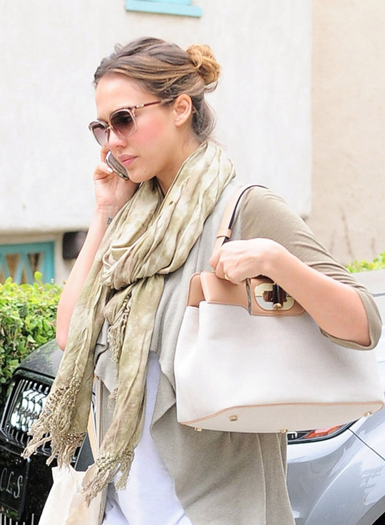 Arriving at her office in Century City