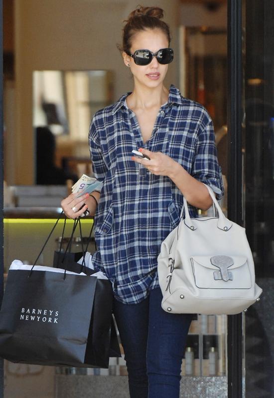 Jessica Alba shopping at Barney's