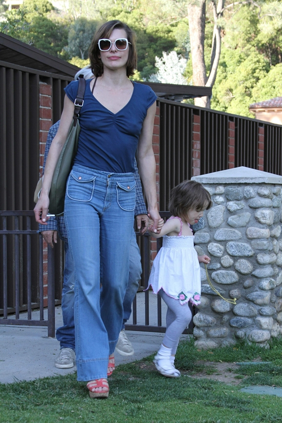Milla Jovovich and daughter Ever have fun at the park in Beverly Hills