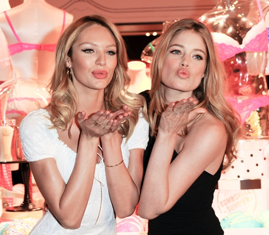 Candice Swanepoel and Doutzen Kroes attend Victoria's Secret Launch in Calgary