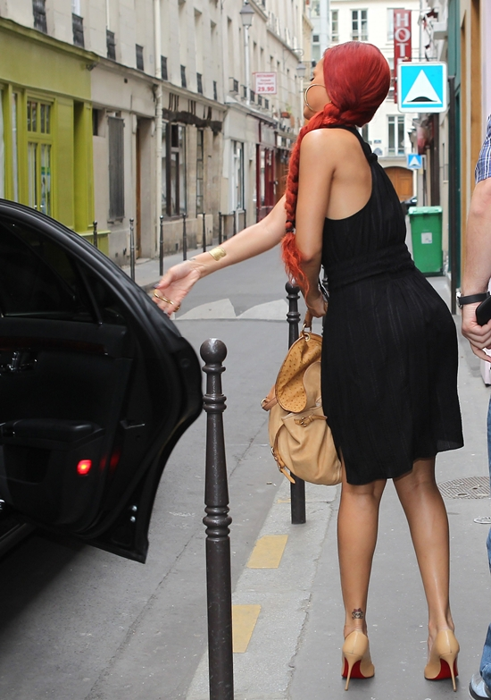 Rihanna leaving the Sofitel Boissy d'Anglas Hotel in Paris