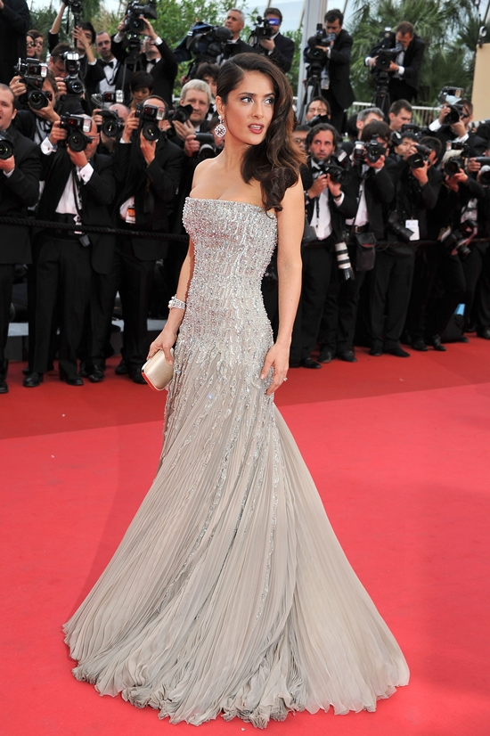 Salma Hayek on the red carpet of the 64th Cannes Film Festival