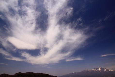 軽井沢から雲と浅間山を望む