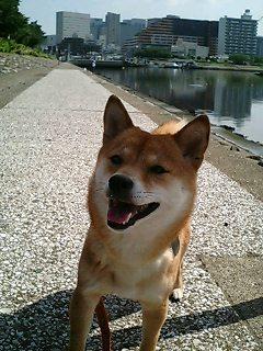 運河で笑顔