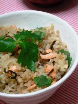 塩昆布と鮭の混ぜご飯