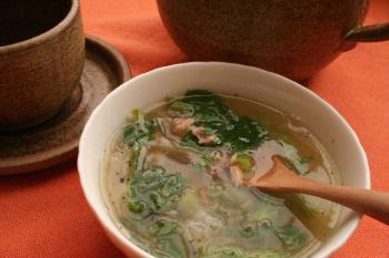 セロリの葉とツナの簡単スープ