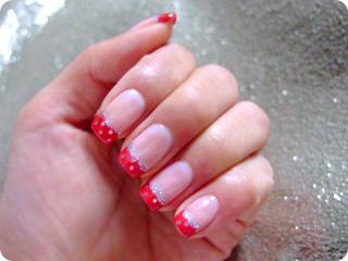 赤×ラメピンクドットフレンチ