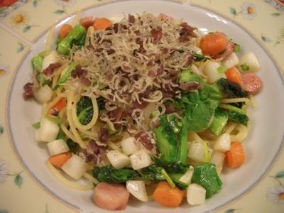 野菜とジャコのパスタ