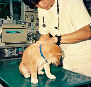 初めての病院、診察台の健太郎