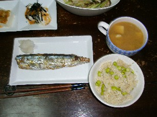「茶豆御飯」「新サンマ」「色々豆腐」「茗荷のお味噌汁」