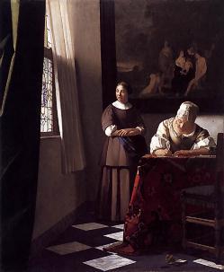 フェルメール「手紙を書く女と召使い」