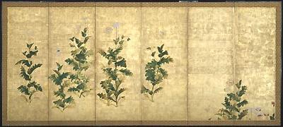 宗達派「芥子図屏風」2