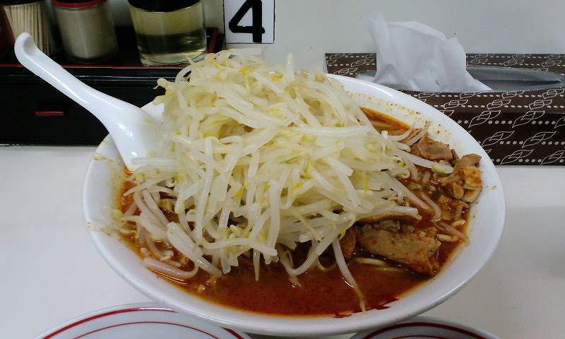 北極ジャンボ 麺カタメ 脂少なめ 野菜大盛り ¥950 + ¥60