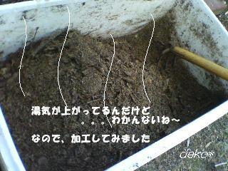 堆肥から湯気。。。