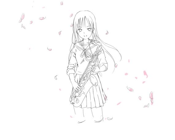 咲くす少女(線画途中)