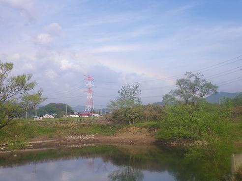 オープン後の雨がりの虹