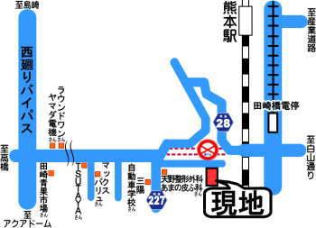 コアマンション熊本駅南現地案内地図