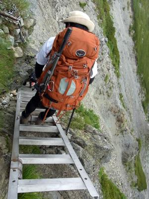 急な梯子場
