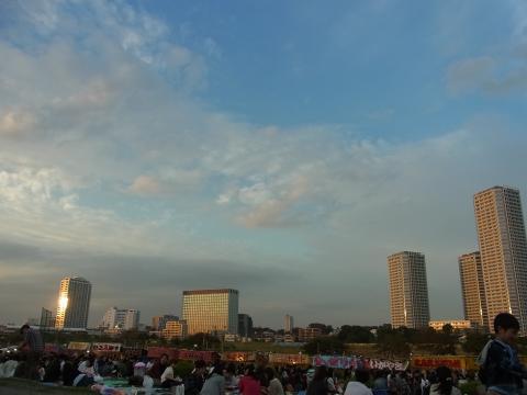 夕日の二子多摩川