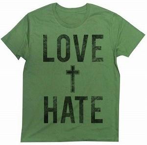 ART / PHOTO Tシャツ this is ユーティリティ! クロスモチーフを+に例えた意味深なタイポグラフィックのデザインTシャツ LOVE HATE
