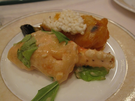 海の幸の二種つくり天然大海老のチリソース煮&タラバ蟹爪の千島ソース