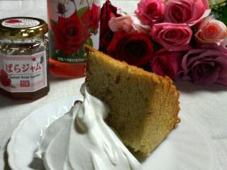 薔薇のシフォンケーキ