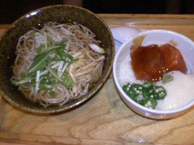 鮪漬け丼&温蕎麦♪
