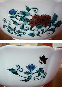 九谷焼の鉢-外側
