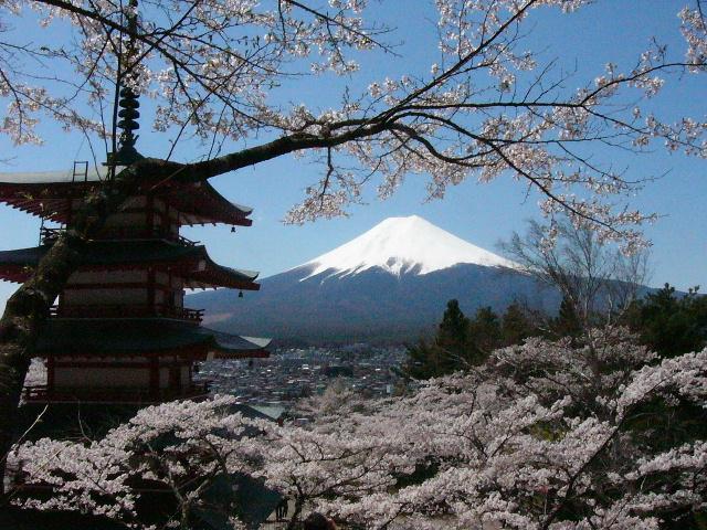 富士山と桜と忠霊塔