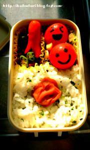 8月28日(日)にこにこトマト弁当:どんぶり(*゚д゚)「ノーコメント×」