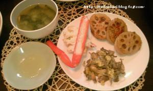 レンコンの肉はさみ焼 マイタケの卵とじ カニ わかめの味噌汁