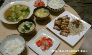 叉焼 もやしの付け合せ 中華トマト 白菜のとろみたらこ炒め わかめと卵の中華スープ ごはん