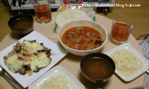 トルティーヤ 豚バラのトマト煮込み ナスのチーズグラタン風 ジャガイモのサラダ コンソメスープ