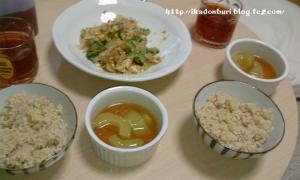 ゴーヤチャンプル 絹うりの生姜あんかけ 玄米ご飯