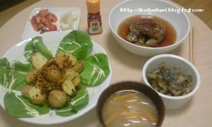 じゃがそぼろ ナスの煮びたし ゴーヤの佃煮 玉ねぎと人参の味噌汁 漬物(トマト・大根・キムチ)