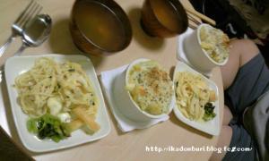 ジャガイモの豆乳グラタン サラダスパ 小松菜のレモン和え オニオンスープ