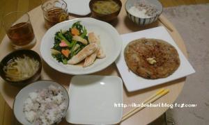ささみの塩やき 小松菜の中華炒め ジャガイモと納豆のおやき もやしの味噌汁 ごはん
