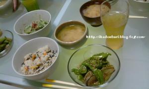甘長唐と茄子の煮びたし オクラの梅和え 玉ねぎの味噌汁 ひじきご飯