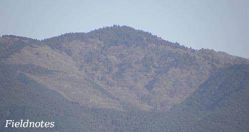 錦織公園の展望台から見た金剛山の山頂付近