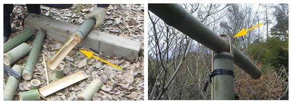 竹の柱と竹の接合部
