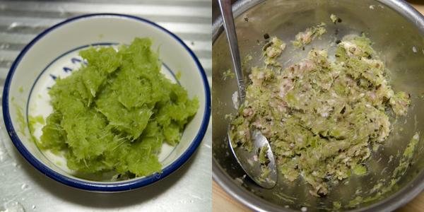 ブロッコリーの裏漉しカス(左)と餃子の具を作っているところ