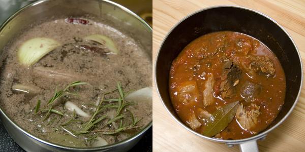 下ゆで(ひだり)とマグロのアラのトマト煮