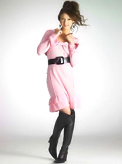 リア ディゾンさんのピンクを服を着たモデル写真