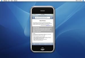 マック用Web上でアイフォンをシミュレートしている写真