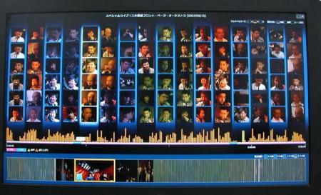 全画面が100位の顔のリストと、下に縦線のグラフが横幅いっぱい